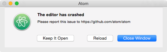 Atom - The editor has crashed
