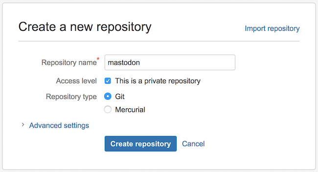 Create a new repository - bitbucket