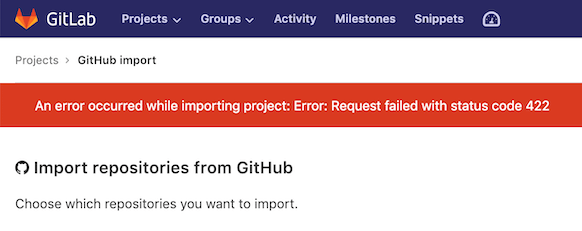 Error Message | Import repositories from GitHub | GitLab