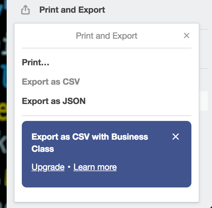 Export as JSON | Trello