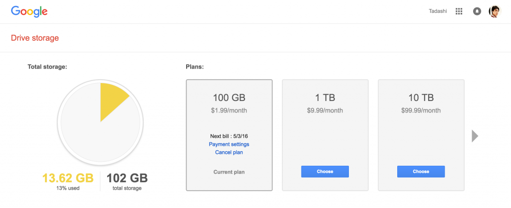 Google Drive 100GB Plan