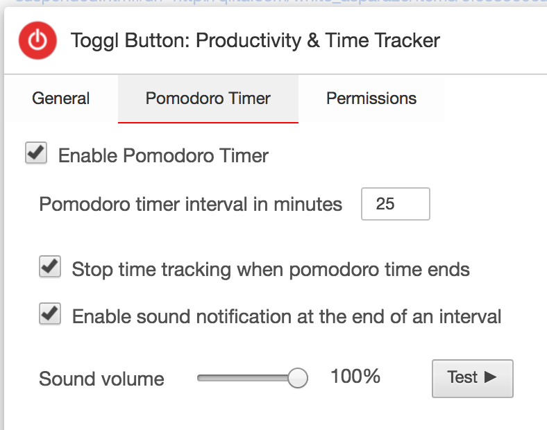 PomodoroTimer Toggl ChromeExtension