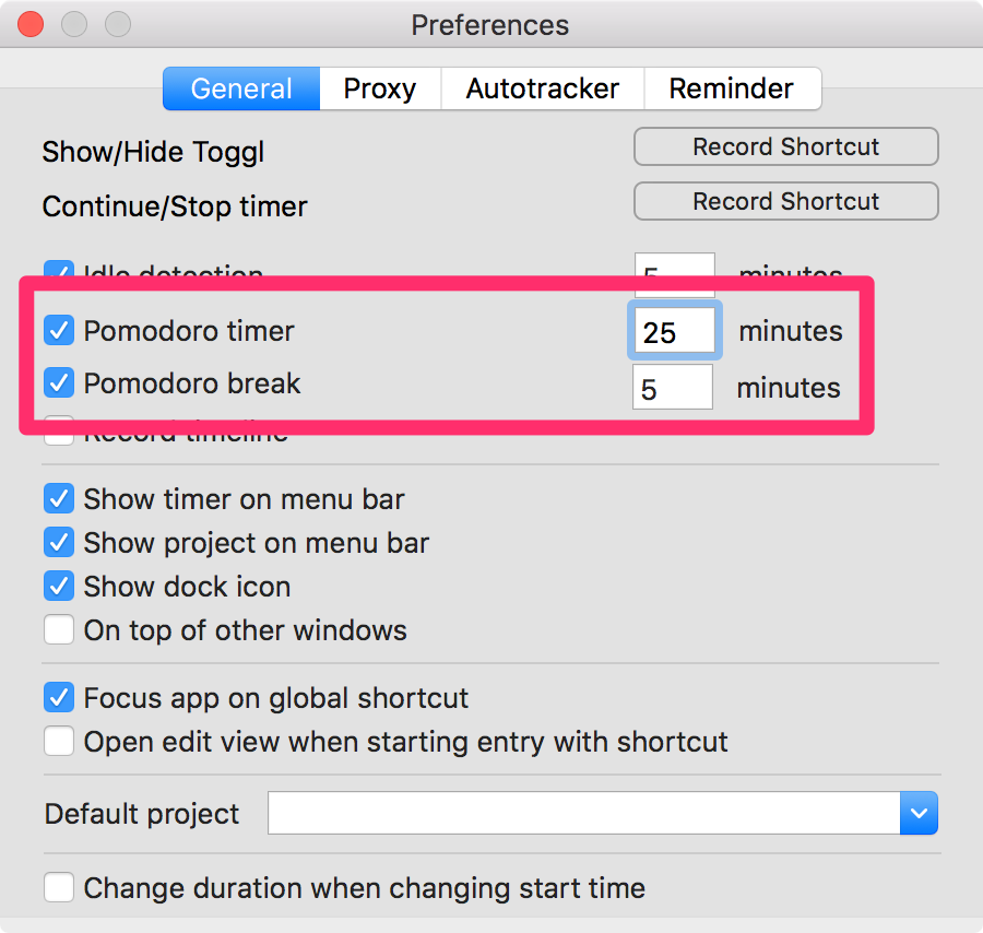 PomodoroTimer TogglDesktop Preferences