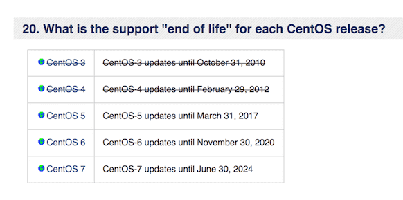 What is the support ''end of life'' for each CentOS release