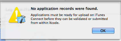 xcode_No application records were found